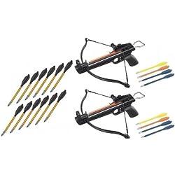 2 Pack 50 Lb Crossbow Gun Pistol Archery Crossbow w/ Arrows+12 Metal Tip Arrows