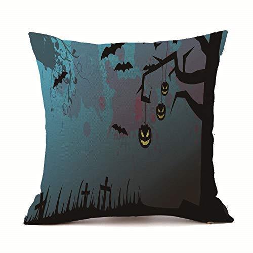 HomeMals Black Halloween Boo Throw Pillow Case Cushion Cover Cotton Linen for Sofa