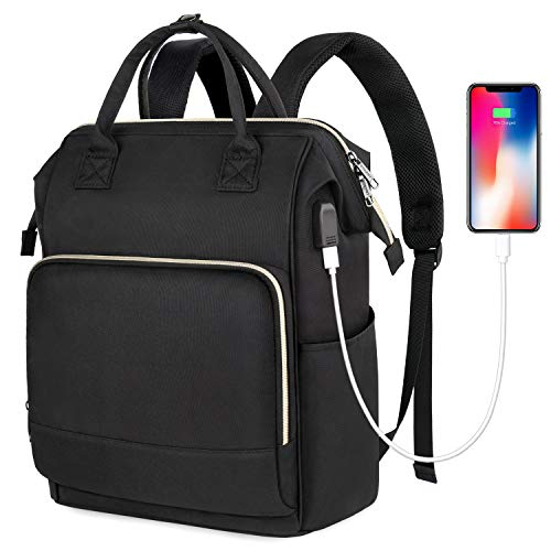 Ytonet 15 Laptop Backpack for Women, RFID Anti-Theft Business Travel Backpack with USB Charging Port, Waterproof College School Bag for Girls Boys Men - Black