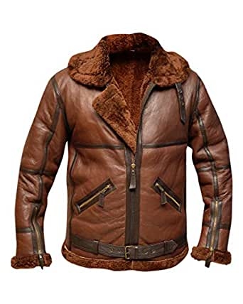 RAF British Real Shearling Flight Aviator Brown Bomber Leather Jacket (XL)