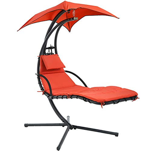 Vnewone Patio Chair Hammock Stand Outdoor Chair Swings for Adults Hanging Chaise Lounger Chair Floating Chaise Canopy Swing Arc Stand Air Porch Lounge Chair for Patio Indoor (Orange)