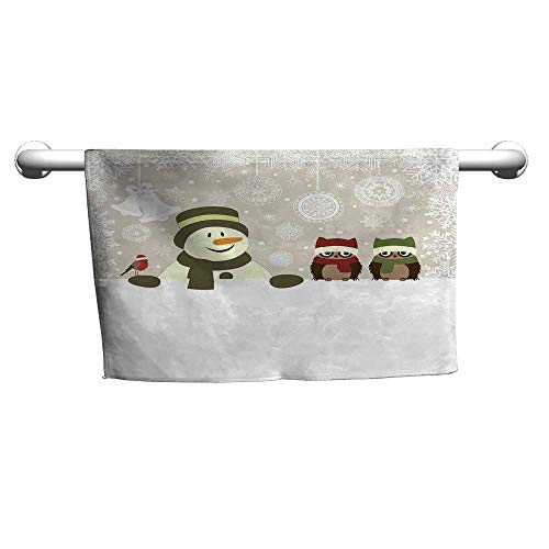 (flybeek Gym Hand Towels Christmas,Snowman and Owls in Snowy Winter Day with Jingle Bells and Snowflake Figures Image,Multi,Hooded Poncho Towel for Kids)