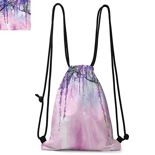 Watercolor Flower Made of polyester fabric Wisteria Flowers on Blurred Background with Dreamy Colors Waterproof drawstring backpack W13.8 x L17.7 Inch Purple Pale Pink Green