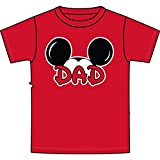 Disney Men's Mickey Mouse Dad Fan T Shirt (X-Large, Red)