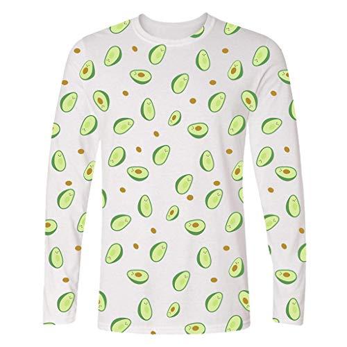 (iLXHD Unisex Long Shirts 3D Printing Creative Crew Neck Casual Long Shirts Top Blouse White)