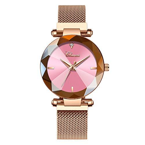 Lefancy Women Ladies Girls Diamond Face Magnetic Strap Rose Gold Mesh Band Bracelet Wrist Watch (Rose Gold-Pink)