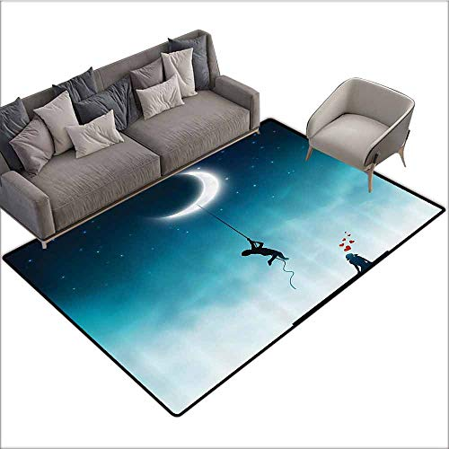 - Indoor Super Absorbs Doormat Fantasy House Decor,Boy Climbing to The Moon with Rope and Girl On Bench Love Valentines Fantasy,Teal White 48