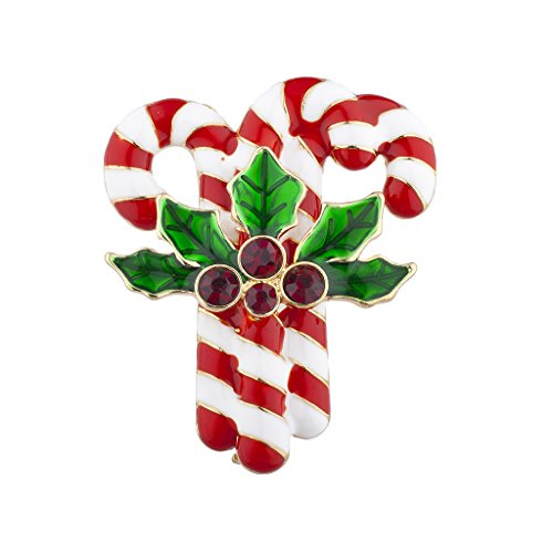 Lux Accessories Christmas Xmas Holiday Triple Candy Cane Mistletoe Brooch Pin from Lux Accessories