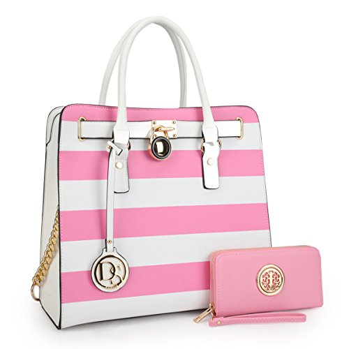 MKY Padlock Stripe Satchel Handbag Designer Purse Multicolor-Pink and White w/ Matching Wallet Chain Shoulder (Designer Wallet Purse)