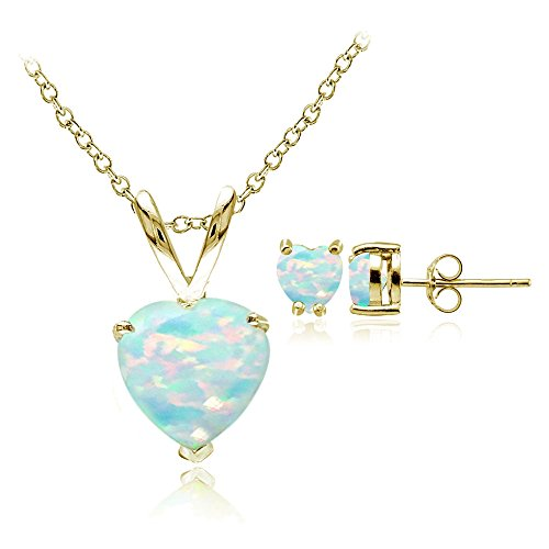 Yellow Gold Flashed Sterling Silver Created Opal Heart Solitaire Pendant & Stud Earrings Set