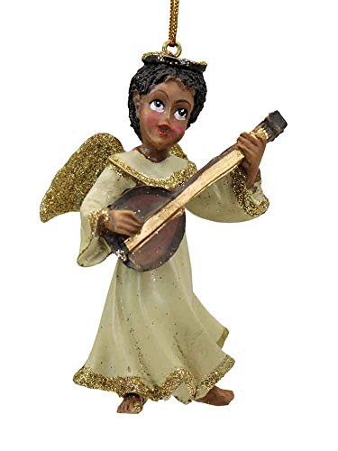 African American Angel Playing Mandolin Ornament [H9529C] ()