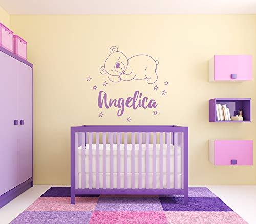 Wall Sticker Angelica Girl Name Sleepy Bear Stars Good Night Baby Kids Room Vinyl Mural Decal Art Decor EH4614