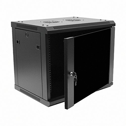 Navepoint 9U Deluxe IT Wallmount Cabinet Enclosure 19-Inch Server Network Rack With Locking Glass Door 16-Inches Deep Black - Server Rack Dimensions