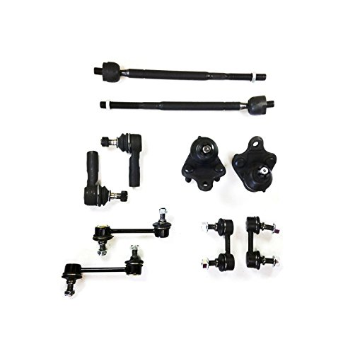 PartsW 10 Pc Suspension Kit for Geo Prizm Toyota Corolla Inner & Outer Tie Rod Ends Lower Ball Joints Front & Rear Sway Bar End Links -