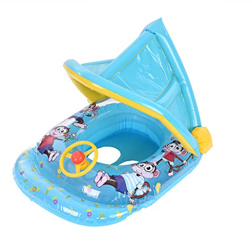 Salaks Baby Pool Float, Inflatable Swimming Ring Boat for Pool Water Fun Outdoor Activity with Adjustable Sun Shade Roof Baby Pool Float Safety Seat for Age 6-36 Months Toddlers US (Best Msd Pool Float Babies)