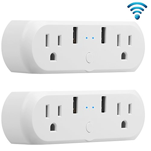 Dual Outlets WiFi Smart Plug Mini, GMYLE Power Wall Tap Socket with 2 USB Ports, Work Individually or Group, Remote Control Your Household Equipment, Works with Amazon Alexa - 2 Packs