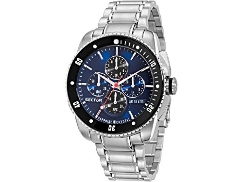 Sector Men's 45mm Steel Bracelet & Case Sapphire Crystal Quartz Blue Dial Analog Watch 3273903006