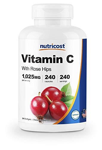 (Nutricost Vitamin C with Rose Hips 1025mg, 240 Capsules - Premium Non-GMO, Gluten Free Vitamin C Supplement)