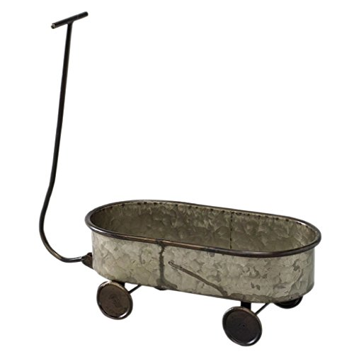 Time Concept Rustic Iron Garden Tool Decor - Children's Cart Planter - Home/Garage Container, Indoor/Outdoor Wagon Rack