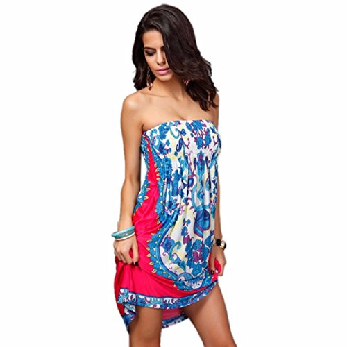 KEEPFUNNY Sexy Women Printing Beach Wear Summer Swimsuit Cover Up Dress (M, Hot Pink)