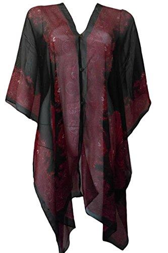 Kimono Pullover (Marilyn & Main Women's Lightweight Button Down Kimono Poncho Blouse (One Size, Black/Red))