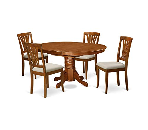 Deluxe Premium Collection 5-Piece Dining Table Set Saddle Brown Finish Decor Comfy Living Furniture ()