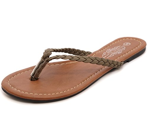 Charles Albert Mujeres Easy Trenzado Tanga Flip Flop Sandal Olive
