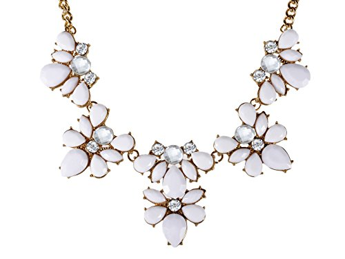 - Alilang Womens Golden Tone White Gemstones Contemporary Floral Chunky Statement Necklace
