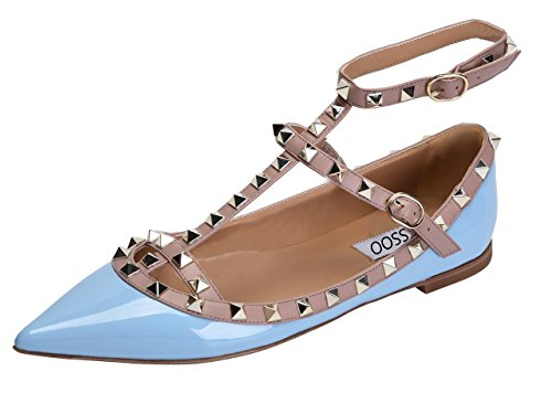 CAMSSOO Women's Metal Studs Strappy Buckle Pointy Toe Flats Comfortable Dress Pumps Shoes Light Blue Patant PU Size US8.5 EU41 -