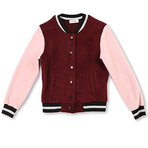 Speechless Girls' Big Varsity Jacket, Burgundy/Pink, -