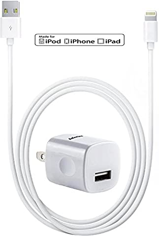 [Apple MFi Certified] Safewire 5W 1A High Speed Universal Power Adapter Wall Charger with Sync and Data 8pin Lightning to USB Cable 3ft for iPhone, iPod, iPad (Wall Adaptor For Iphone 5)