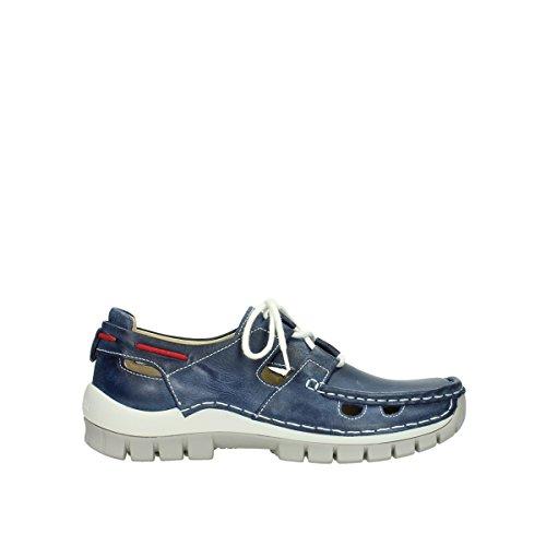 Scarpe Stringate Comfort Laccate 04707 Blu Scuro