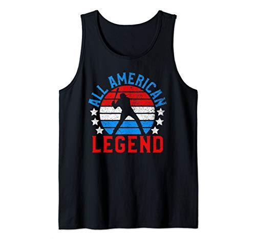 Funny All American Baseball Player USA Flag July 4th Gift Tank Top