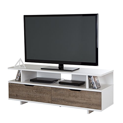 South Shore Reflekt Stand-Fits TVs Up to 60'' Wide - Weathered Oak/Pure White