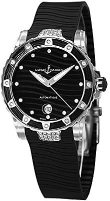 Ulysse Nardin Marine Lady Diver 2014 Black Rubber Strap Diamond Automatic Swiss Watch 8153-180E-3C/12