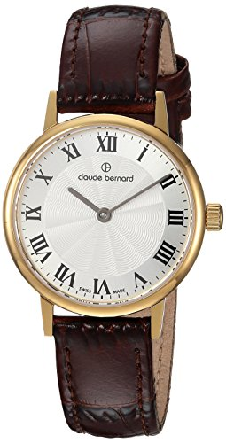 Claude Bernard womens 20215 37J AR Slim Line Analog Display Swiss Quartz Brown Watch