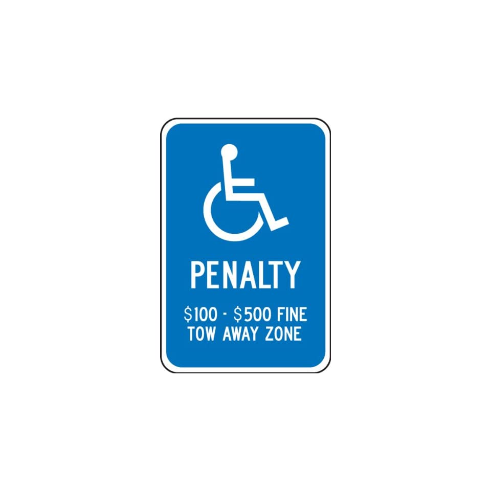 Accuform Signs FRA161RA Engineer Grade Reflective Aluminum Handicap Parking Sign, For Virginia, Legend PENALTY $100 $500 FINE TOW AWAY ZONE with Graphic, 12 Width x 18 Length x 0.080 Thickness, White on Blue