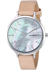 Skagen Womens Anita Quartz Stainless Steel and Leather Casual Watch, Color:Brown (Model: SKW2634)