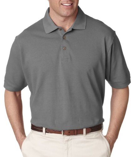 UltraClub Men's Relaxed Fit Taped Neck Pique Polo Shirt, X Large, Graphite Double Pique Polo Shirt
