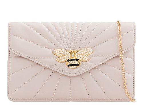 Quilted Bee KL2245 Charm Bag Handbag Evening Bag Clutch Ladies Beige Insect Women's Pearl UFBwxdURq