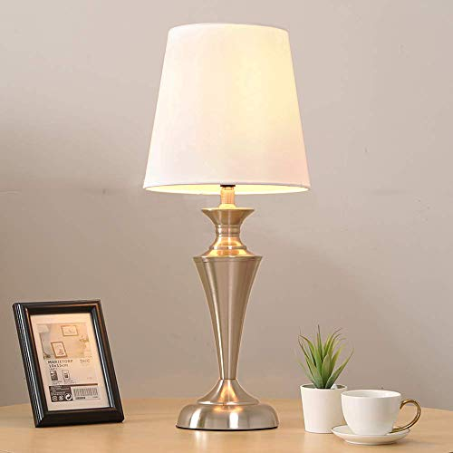 POPILION Brushed Nickel Metal Base Table Lamps,Bedroom Table Lamp with White TC Fabric Shade