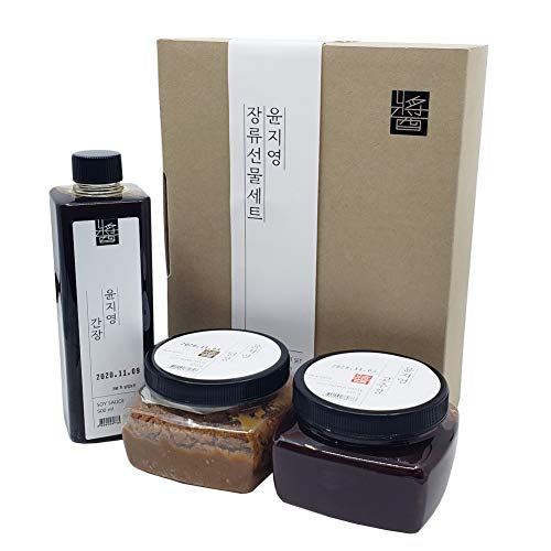 (Korean Traditional 100% All Natural Fermented Soybean Paste 450g (Doenjang), Red Pepper Chilli Paste 450g (Gochujang), Soy Sauce 500ml (Ganjang) Set, Non-GMO, Gluten-Free)