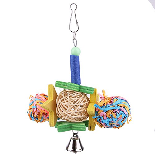 LySanSan - Pet Birds Toy Foraging Shredder Toy for Parrot Cockatiel Parakeet Bird Cage Hanging Bell Pet Conure Chewing Toy ()