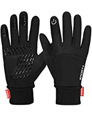 Yobenki Winter Warm Gloves, Anti Slip Touch Screen Gloves Windproof Thermal Gloves Cold Weather Cycling Gloves for Men Women