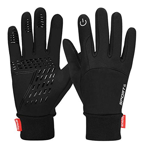 Yobenki Touch Screen Gloves, Waterproof Warm Gloves Cycling Gloves for Cycling, Running, Climbing and Winter Outdoor Sports Men & Women (Black, M)