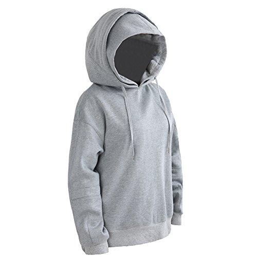 Pumpkin Brother Men's Pullover Cover Hoodies Fleece Terry Hooded Sweatshirts Solid Long Sleeve Hoodie Grey L