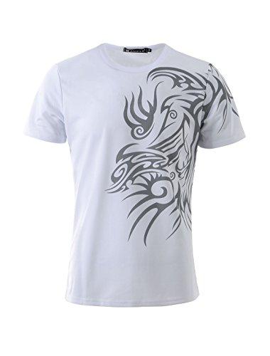 uxcell Men Round-Neck Short Sleeved Tribal Pattern Tee-Shirt White M US 40 ()
