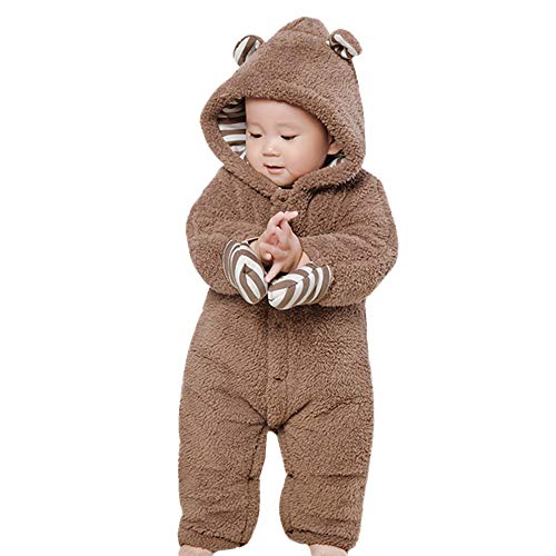 Sharemen Baby Boys Girls Thicker Grid Jumpsuit Hoodie Romper Outfit Bodysuit (3-6 Months, Brown)