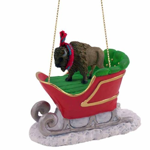 Buffalo Sleigh Ride Ornament (Set of 3) by Conversation Concepts