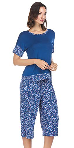 Ink+Ivy Women Pajama Set Oversized Tee and Capri Lounge Pants Blue Ditsey Floral Large ()